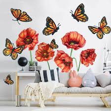 Wild Poppy Butterfly Watercolor Wall Decal Bundle By Chromantics