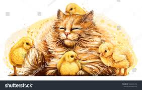Cat Chickens Wall Sticker Artistic Color Stock Vector Royalty Free 1566594796
