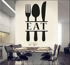 Let S Eat Knife Fork Spoon Vinyl Lettering Wall Decal Sticker 6073681 For Sale Online Ebay