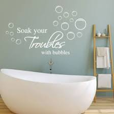 Soak Your Troubles Away Bathroom Wall Art Quote Sticker Room Decal With Bubbles