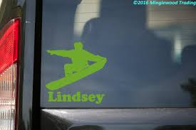 Snowboarder With Personalized Name Vinyl Sticker Snurfer Die Cut Decal Minglewood Trading