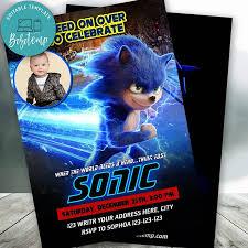 Velocidad Editable En La Invitacion De Cumpleanos De Sonic Con