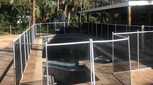 White With Black Mesh Pool Safety Fences In Estero Fl