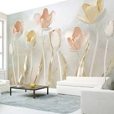 Custom Mural Wall Sticker 3d Stereoscopic Tulip Flower Photo Wallpaper Wall Decals Living Room Bedroom Tv Background Wall Paper Wallpapers Aliexpress