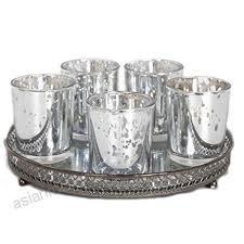 set 5 silver mercury votive candle