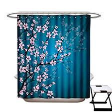shower curtain customized pink blossoms
