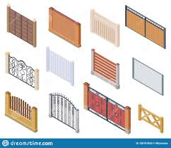Isometric Fence Gates And Farm Garden Wired Security Fences Metal Lattice 3d Vector Isolated Collection Stock Vector Illustration Of Barrier Entrance 150701853