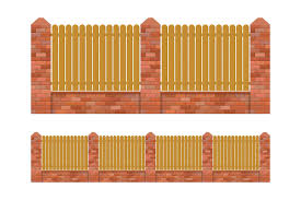 Brick And Wood Fence Isolated Download Free Vectors Clipart Graphics Vector Art