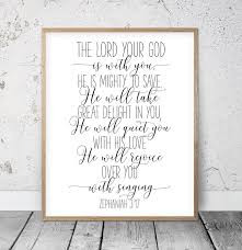 Bible Verse Wall Art The Lord Your God Is With You Zephaniah Etsy In 2020 Bible Verse Wall Bible Verse Wall Art Scripture Wall Art