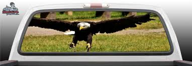 Soaring Bold American America Usa Flag Bald Eagle Abstract Fantasy Tattoo Graphic Window Perf Perforated Wrap Vinyl Decal Truck Pickup Suv