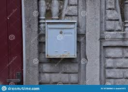 Metal Mailbox On A Gray Concrete Fence Wall Stock Image Image Of Metal Postbox 167368963