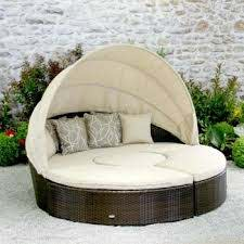 synthetic round rattan outdoor daybed
