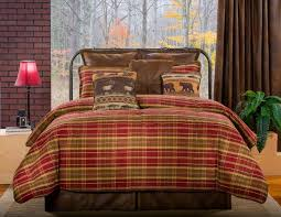 7pc red olive green tan brown plaid