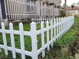 Pvc White Plastic Picket Fence Metal Garden Fencing For Greenbelt Lawn
