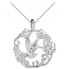 silver hummingbird pendant necklace