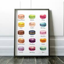 Macaron Print Kitchen Decor Wall Art French Macarons Etsy