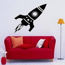 Rocket Wall Decal Vinyl Sticker Art Wall Removable Nursery Kids Home Decor 1nry3