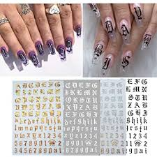 Amazon Com Giokfine Alphabet Nail Decal Ultra Thin Gummed Black And White Gold And Silver Nail Art Supplies Nail Sticker A Beauty