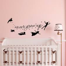 Peter Pan Wall Decal Quote Never Grow Up Children Flying Etsy