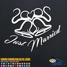 Just Married Wedding Bells Vinyl Car Window Decal Sticker