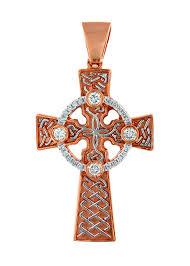 14k rose gold irish celtic diamond