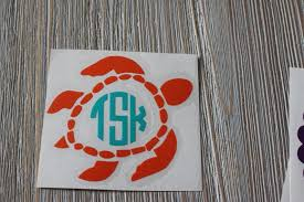Sea Turtle Monogram Car Decal Monogram Sea Turtle Car Decal Etsy
