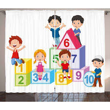 Educational Curtains 2 Panels Set Happy Kids Boys And Girls With Number Blocks Triangle Rectangle And Square Window Drapes Girls Bedroom Happy Kids Ambesonne