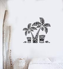 Vinyl Wall Decal Hawaiian Palm Trees Totem Hawaii Beach Style Interior Stickers Mural Ig5944 Vinyl Wall Decals Wall Decals Palm Tree Drawing