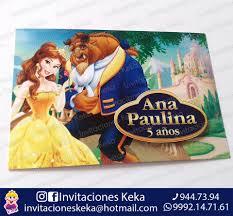 Invitacion Bella Y Bestia Nombre En 3d Keka Invitaciones Facebook