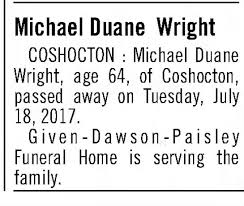 Obituary for Michael Duane Wright (Aged 64) - Newspapers.com