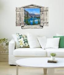 Window Landscape View Canada Mountain Lake 3 Wood Wall Sticker Decal Graphic Ebay
