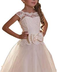 Amazon.com: Adela Vintage Lace Puffy Flower Girl Dresses for Weddings Floor  Length First Communion Dress AR096: Clothing