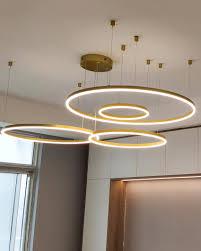 Đèn thả trần LED 4 vòng tròn xi vàng bóng hiện đại VIRGO DL24 • Đèn trang  Trí cao cấp Virgo