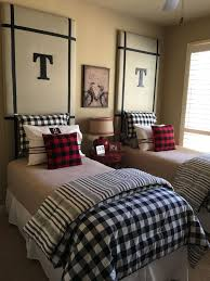 Love Our G Kids Room With The Buffalo Check Comforters And Pillows And The T Headboards Bedroom Design Boys Bedrooms Home