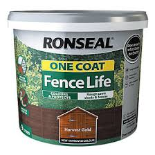 Ronseal One Coat Fence Life Harvest Gold 9ltr Fence Paint Screwfix Com