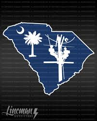 South Carolina Lineman Decal Lineman South Carolina State Outline