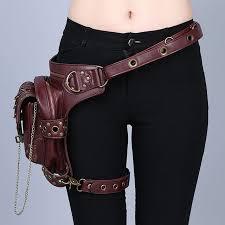 women men brown leather steampunk mini
