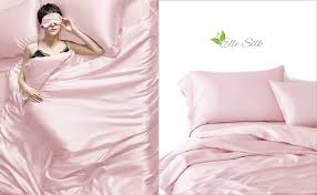 light pink silk bed linen from the