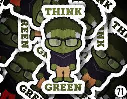 Think Green Hulk Stickers Etsy