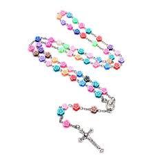 catholic rosary necklace rose flower