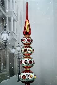 mercury glass tree topper red gold
