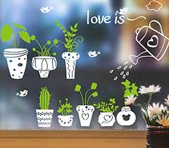 Amazon Com Pot Plant Bird Flower Nature Lovely Window Wall Decal Pvc Wall Sticker Home Decor Decoration Diy Home Living Room Watering Plants 45x60cm Home Kitchen