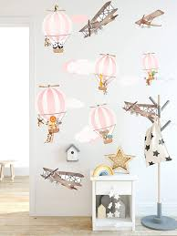 Amazon Com Murwall Kids For Girls Hot Air Balloon Wall Decal Vintage Aircraft Wall Sticker Pink Air Balloons Removable Peel N Stick For Kids Wall Decals For Childroom Playroom Handmade