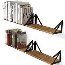Wallniture Minori Floating Shelves Set Of 4 Small Bookshelf Unit For Bedroom Office Bathroom And Living Room Natural Burned Rustic Wood Wall Decor With Metal Floating Shelf Bracket Buy Products Online