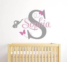 Amazon Com Custom Elephant Name Wall Decal For Girls Baby Room Decor Nursery Wall Decals Elephant Wall Decor Baby