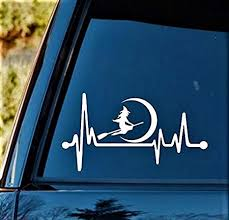 Amazon Com Witch Riding Broom Moon Heartbeat Lifeline Decal Sticker 8 0 Inches X 4 25 Inches Item K1155 Arts Crafts Sewing