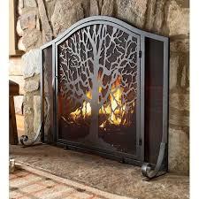 single panel iron fireplace screen