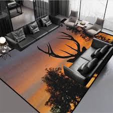 Amazon Com Antlers Kids Area Rug Home Decorate Floor Kids Playing Mat Black Deer On Sky Background West Coast South Island New Zealand Nature Seal Brown Marigold Rug 72 By 30 Kitchen