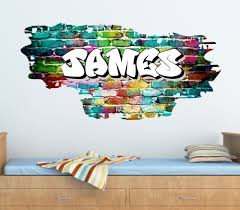 Details About Personalised Graffiti Brick Name Wall Art Sticker Decal Graphic Transfer Tr45 Graffiti Room Graffiti Bedroom Name Wall Stickers