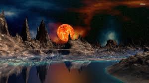 خلفيات سطح المكتب Hd ويندوز 10 Moon Artwork Landscape Wallpaper